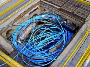 Fiber-optic internet cable.